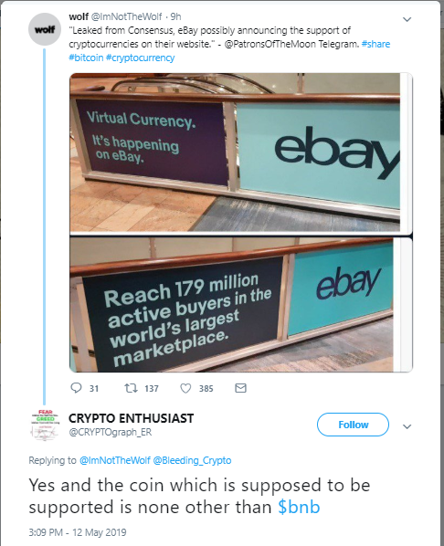 reputable site 9a933 a83eb eBay to Start Accepting Crypto  Community Stirred by Unconfirmed Twitter  Rumours – Ethereum World News